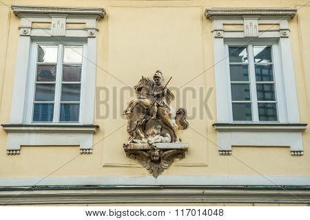 saint George figure on building in Mikulov town in Czech Republic