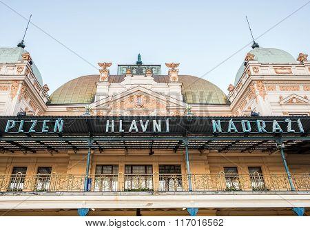Pilsen, Czech Republic - October 2, 2015: Railway station building in Pilsen