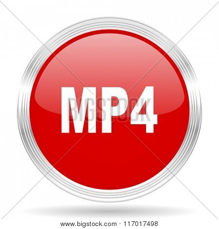 mp4 red glossy circle modern web icon on white background