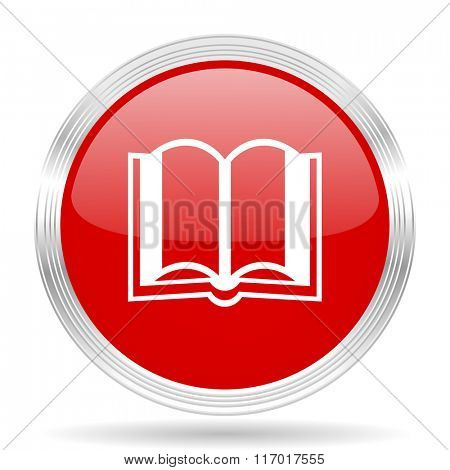 book red glossy circle modern web icon on white background