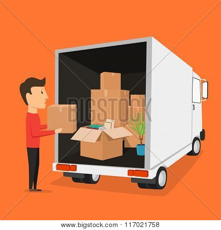 Moving with boxes. Things in box. Transport company