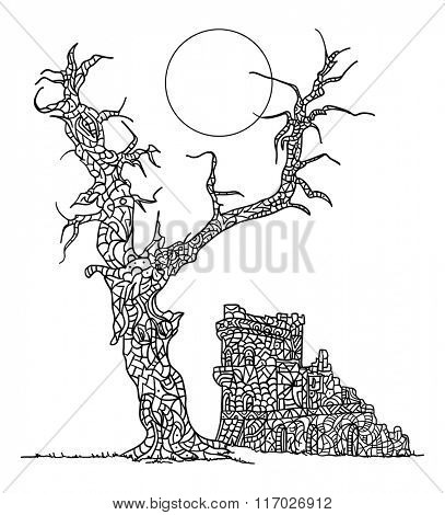vector - anti stress, zentangle painting, tree and Castle