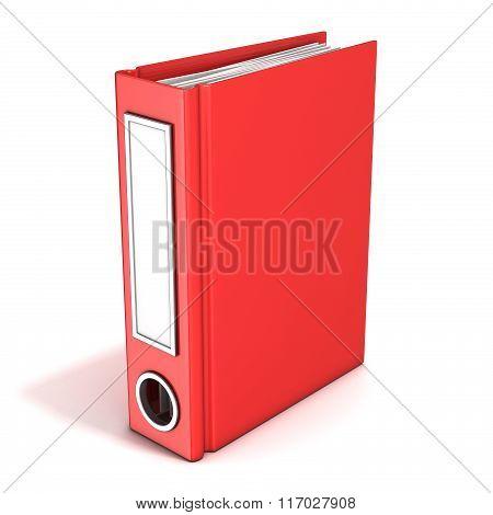 Red office folder standing. 3D