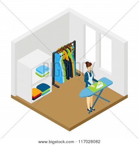 Household Chore Ironing Isometric Pictogram Banner