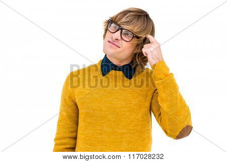 Portrait of confused hipster on white screen