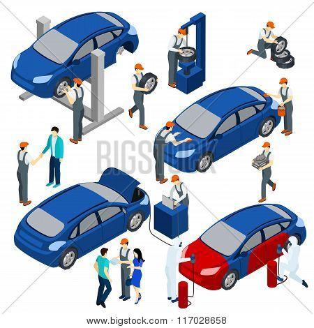 Auto Service Concept Set