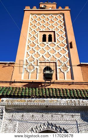 In Maroc Tile Africa Minaret And The Blue    Sky