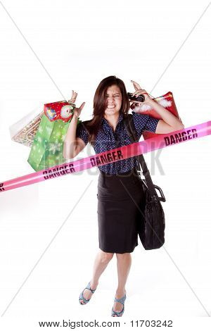 Woman Frustrated Danger Sign Shopping