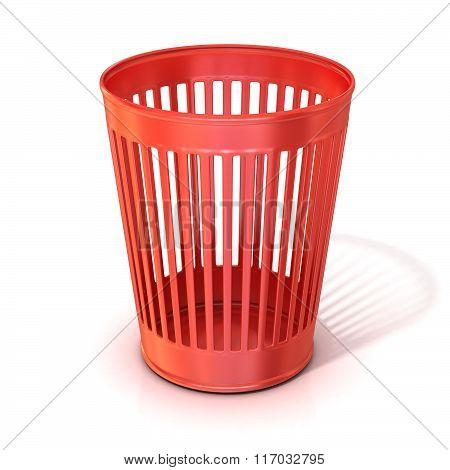 Empty red trash bin garbage can