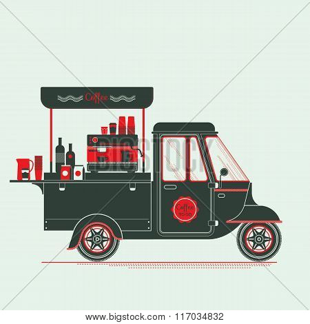 ..creative Detailed Vector Coffee Street Truck, Three Colours Design On Three Layers, Easy To Change