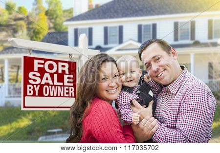 Happy Young Family In Front of For Sale By Owner Real Estate Sign and House.