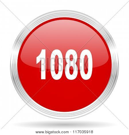 1080 red glossy circle modern web icon on white background