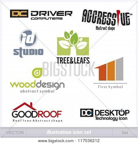 Logo mix icon vector template set illustarion