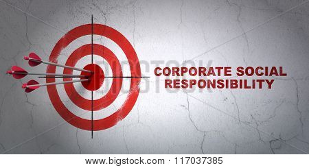 Finance concept: target and Corporate Social Responsibility on wall background