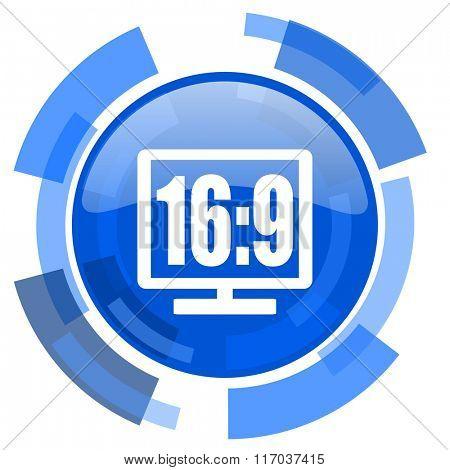 16 9 display blue glossy circle modern web icon