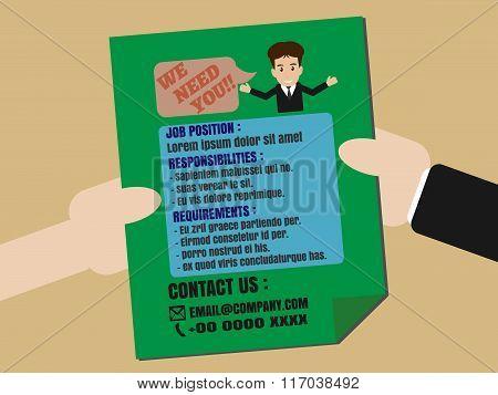 Job Finder Advertisement On Leaflet