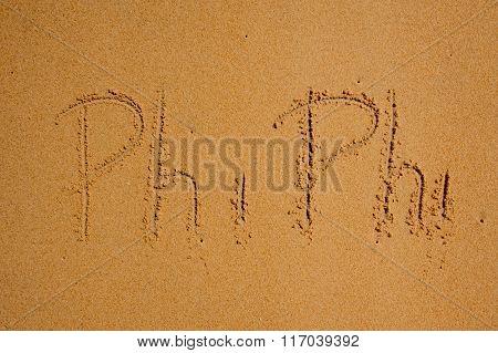 Phi-phi Island  Sign On Sand