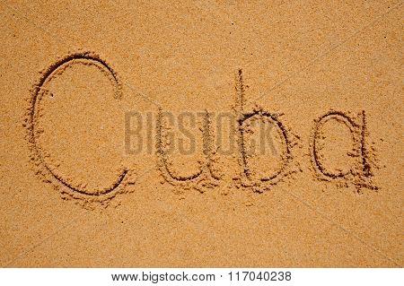 Sign Cuba Writen On Sand