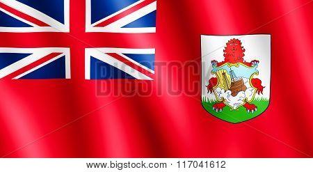 Flag Of Bermuda Waving In The Wind