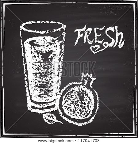 Glass of fresh juice. Pomegranate.  The illustration on a chalk board.