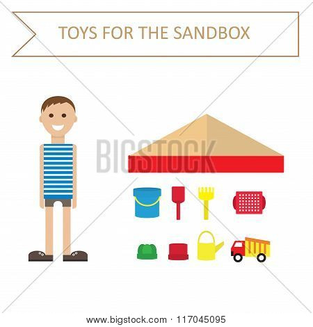 Image of a boy in a striped shirt, and toys for the sandbox-style flat. Outdoor games for children.