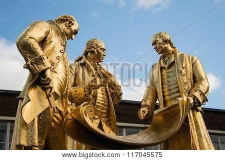 Gilded Bronze Statue Of Matthew Boulton, James Watt And William Murdoch By William Bloye And Raymond