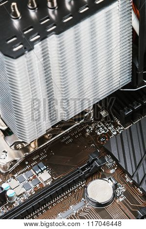 Pc Cpu Cooler With Heat Pipes Installed On Mainboard