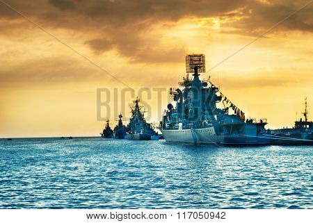 Military Navy Ships In A Sea Bay