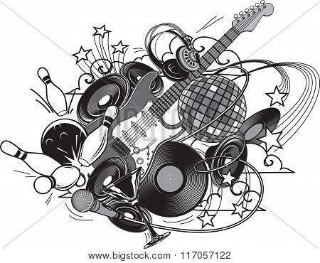 Entertainment  Composition - Set. Entertainment Attributes: Club Life, Music, Dancing Etc.
