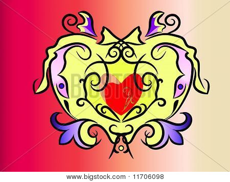 Heart And Decorative Pattern
