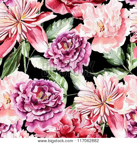 Seamless pattern with watercolor flowers.  Peonies.