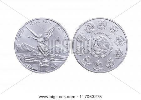 Front And Reverse Mexican Silver Coin