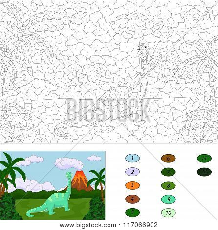 Funny Cute Diplodocus On The Background Of A Prehistoric Nature. Color By Number Educational Game Fo