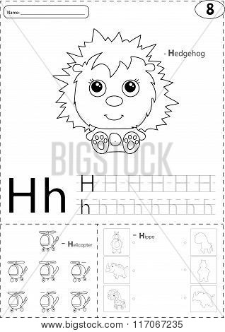 Cartoon Hedgehog, Helicopter And Hippo. Alphabet Tracing Worksheet: Writing A-z And Educational Game