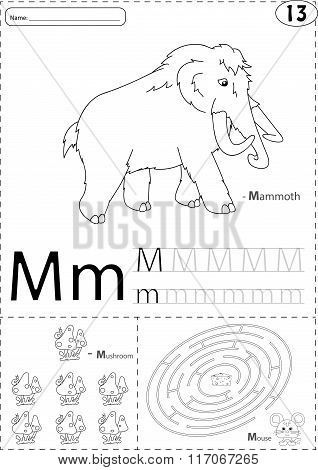 Cartoon Mammoth, Mushroom And Mouse. Alphabet Tracing Worksheet: Writing A-z And Educational Game Fo