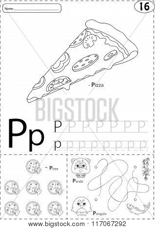 Cartoon Pizza, Panda And Penguin. Alphabet Tracing Worksheet: Writing A-z And Educational Game For K