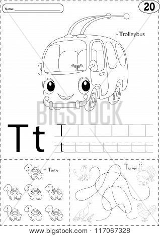 Cartoon Trolleybus, Turtle And Turkey. Alphabet Tracing Worksheet: Writing A-z And Educational Game