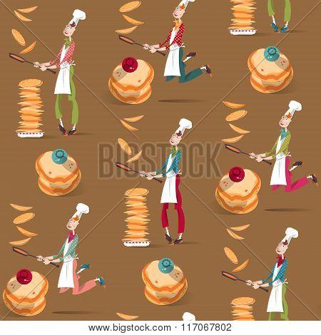 Cook Boy Tosses Pancake In Frying Pan. Happy Pancake Day! Seamless Background Pattern.