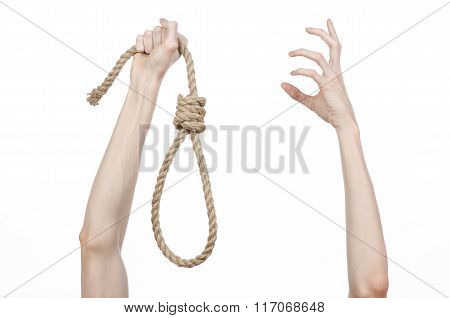 Lynching And Suicide Theme: Man's Hand Holding A Loop Of Rope For Hanging poster
