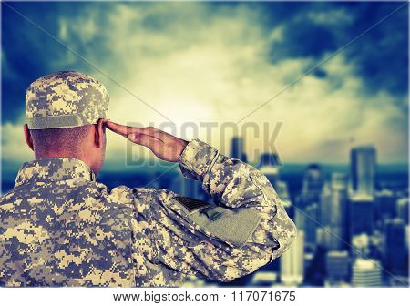 Veteran Armed Forces Military US Military US Veteran's Day Saluting Patriotism poster