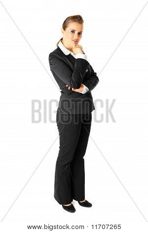 Full length portrait of thoughtful modern business woman isolated on white poster