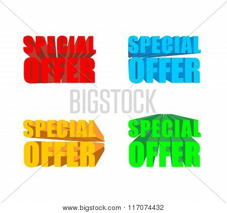 Special Offer. Set Of Colored Special Offer For Business Presentation Template. 3D Letters.