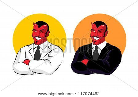 Devil In Business Suit. Red Demon In White Jacket. Satan With Horns In Black Clothes. White Shirt An