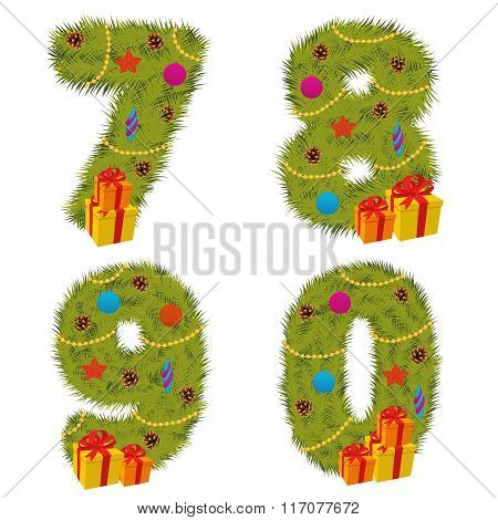 set of numbers Christmas tree from 7 to 9