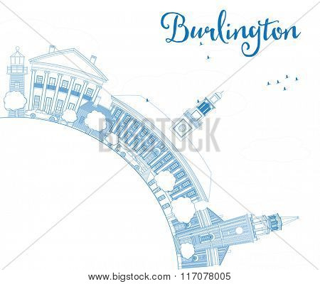 Outline Burlington (Vermont) City Skyline with Blue Buildings and Copy Space. Vector Illustration. Business and tourism concept. Image for presentation, banner, placard or web site