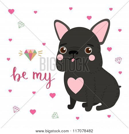 Cute French Bulldog Card For Valentines Day