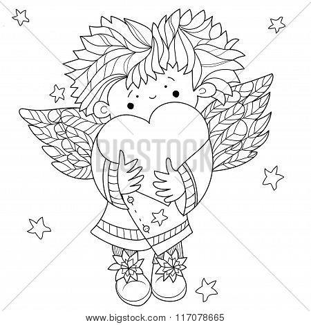 Cute angel heart Valentin doodle