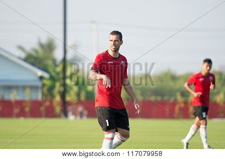 HUAHIN THAILAND-JAN 28 2016: Sergio Paulo Nascimento Filho of port fc in action during friendly match pre-season between port fc and hunhin city at True arena huahin on january 2016