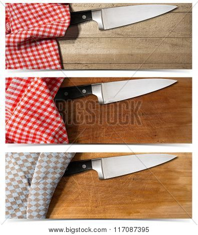 Set Of Banners With Kitchen Knife