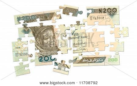 Cash Puzzle from 200 naira banknote. Nigerian currency. poster